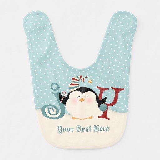 Christmas Penguin Joy Bib