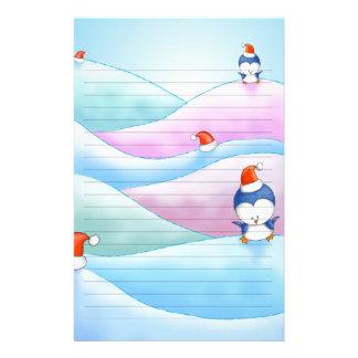 christmas penguin land custom stationery