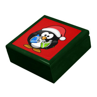 Christmas Penguin Large Square Gift Box