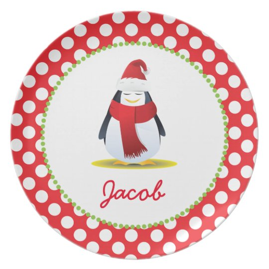 Christmas Penguin Personalised Child's Plate