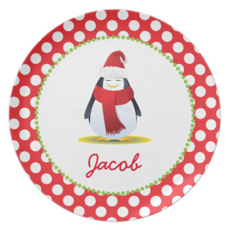 Christmas Penguin Personalized Child's Plate