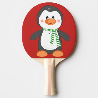 christmas penguin ping pong paddle