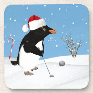 Christmas, Penguin Playing Golf Coaster