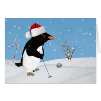 Christmas, Penguin Playing Golf Greeting Card