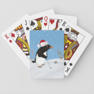 Christmas, Penguin Playing Golf Playing Cards