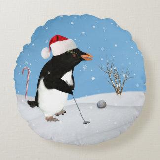 Christmas, Penguin Playing Golf Round Cushion