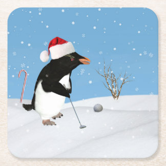 Christmas, Penguin Playing Golf Square Paper Coaster
