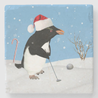 Christmas, Penguin Playing Golf Stone Coaster