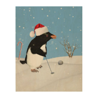 Christmas, Penguin Playing Golf Wood Canvases