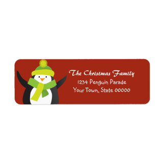 Christmas Penguin Return Address Label