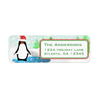 Christmas Penguin Return Address Return Address Label