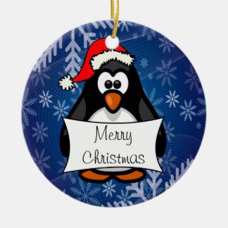 Christmas Penguin Round Ceramic Decoration