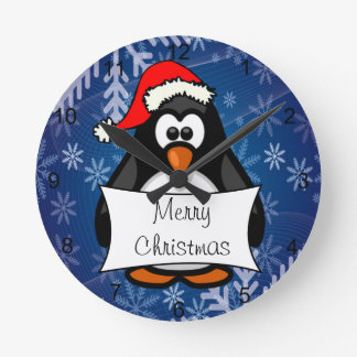 Christmas Penguin Round Clock