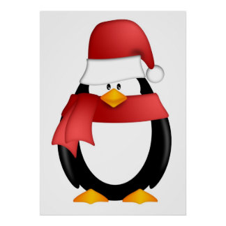 Christmas Penguin Santa Hat and Red Scarf Poster