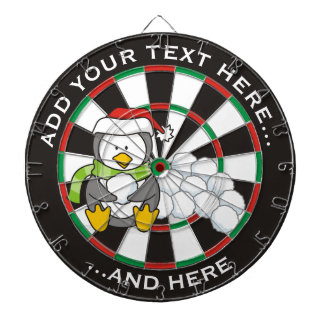 Christmas penguin sitting with snow balls dartboard