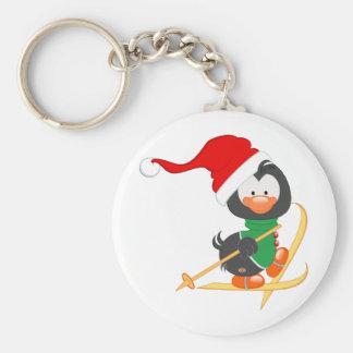 Christmas Penguin Skiing Basic Round Button Key Ring