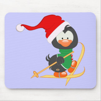 Christmas Penguin Skiing Mouse Pad