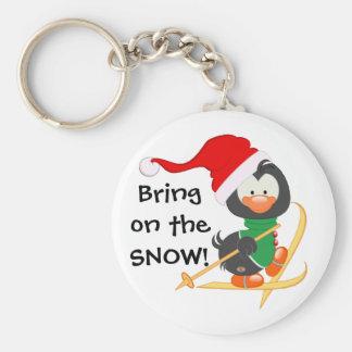 Christmas Penguin Skiing Snow Basic Round Button Key Ring