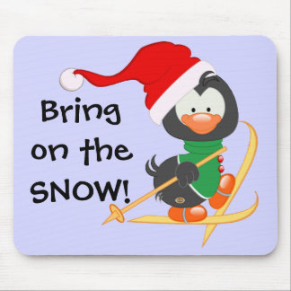 Christmas Penguin Skiing Snow Mouse Pad