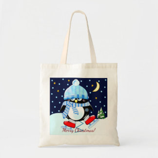 Christmas penguin trying to skate + custom text tote bag
