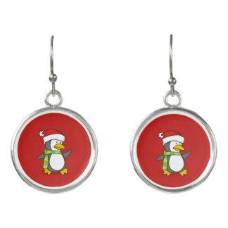 Christmas penguin walking on snow earrings
