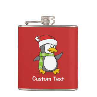 Christmas penguin walking on snow hip flask