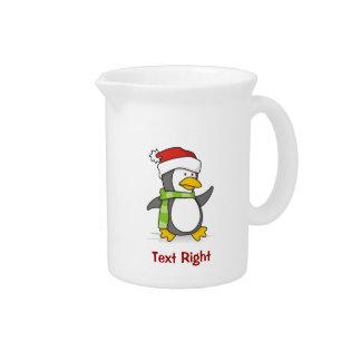 Christmas penguin walking on snow pitcher