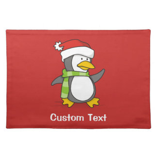 Christmas penguin walking on snow placemat
