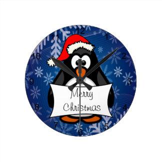 Christmas Penguin Wall Clock
