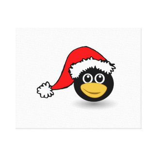 Christmas Penguin Wearing Santa Hat Canvas Print