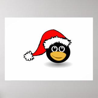 Christmas Penguin Wearing Santa Hat Posters
