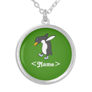 Christmas Penguin with Blue & Silver Ice Skates Round Pendant Necklace