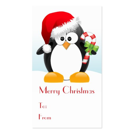 Christmas Penguin with Candy Cane Gift Tags Double-Sided Standard ...