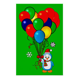 Christmas Penguin with Heart Balloons Poster