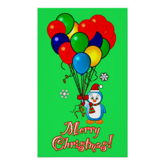 Christmas Penguin with Heart Balloons Posters