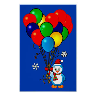 Christmas Penguin with Heart Balloons Print