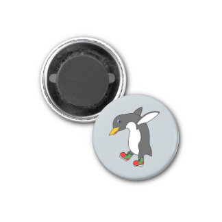 Christmas Penguin with Red & Green Ice Skates 3 Cm Round Magnet