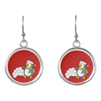 Christmas penguin with snow balls waving earrings