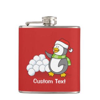 Christmas penguin with snow balls waving hip flask