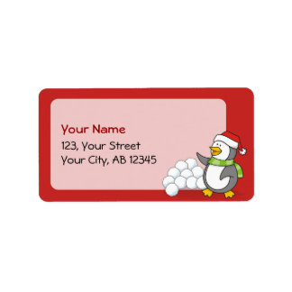 Christmas penguin with snow balls waving label