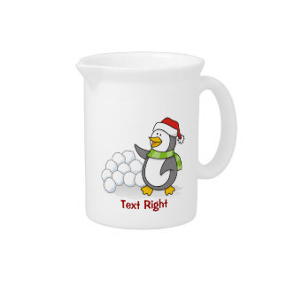 Christmas penguin with snow balls waving pitcher