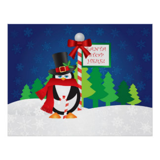 Christmas Penguin with Top Hat and Scarf Poster
