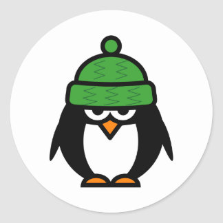 Christmas penguin with winter hat cartoon stickers
