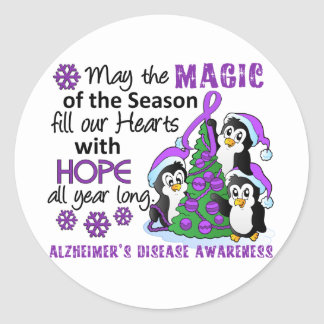 Christmas Penguins Alzheimer's Disease Round Sticker