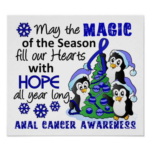 Christmas Penguins Anal Cancer Poster