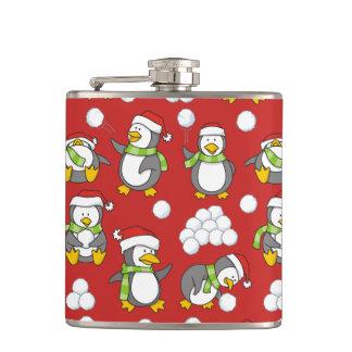 Christmas penguins background hip flask