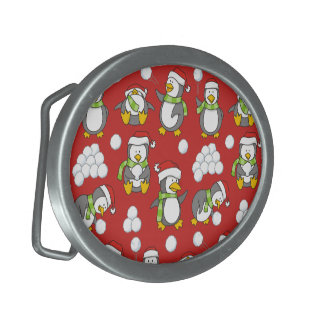 Christmas penguins background oval belt buckle