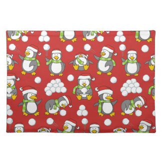 Christmas penguins background placemat