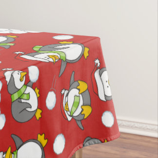 Christmas penguins background tablecloth