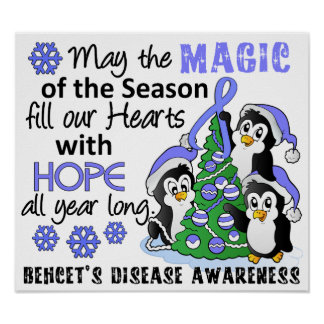 Christmas Penguins Behcet's Disease Poster